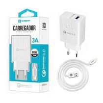 Carregador Turbo 3A + Cabo Lightning Original Sumexr Quick Charge 3.0 Para Celular iPhone 10, X, Xr, Xs, Xs Max -