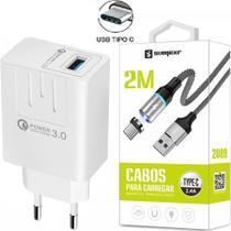 Carregador Turbo + Cabo Magnético 2m Tipo C Compativel com Celular Lg, Motorola, Samsung - Sumexr