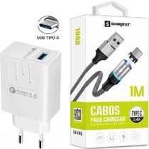 Carregador Turbo + Cabo Magnético Sumexr Compativel com Celular Samsung S8, S9, S10 -