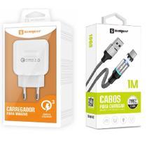 Carregador Turbo + Cabo Magnético USB Tipo C para Celular LG, Motorola, Samsung, Lenovo - Sumexr