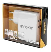 Carregador Turbo De Celular 3.0 Qc 36w 2 Usb Carga Rapida - INFOKIT