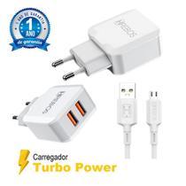 Carregador Turbo Dual USB + Cabo Micro USB V8 Ultra Reforçado - HRebos