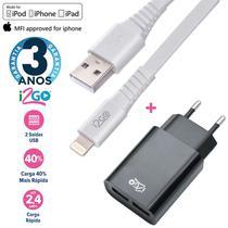 Carregador Turbo iPhone 2.4A + Cabo Lightning Chip Original 1,2m Branco i2GO -