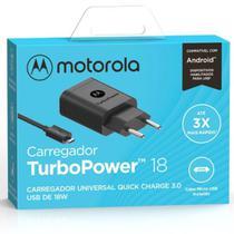 Carregador Turbo Motorola Original 18w Moto E6 Plus  Garantia Resistente Carga Rápida Micro Usb -