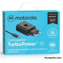 Carregador Turbo Motorola Original 18w Moto Z Play Garantia Bivolt Resistente Carga Rápida Tipo-C -