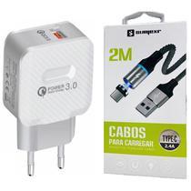 Carregador Turbo Original + Cabo Magnético de 2 Metros Tipo C Sumexr para Celular Asus zenfone 3 e 4 -