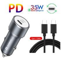 Carregador Turbo Veicular PD Tipo C Sumexr Para Celular Samsung S8, S8 Plus, S9, S9 Plus -
