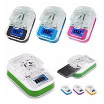 Carregador Universal Digital LCD Bivolt Bateria Celular USB - Ke