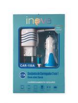 Carregador Veicular 2 USB com Cabo Micro USB 2.1A 3 em 1 AZUL - Inova