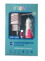 Carregador Veicular 2 USB com Cabo Micro USB 2.1A 3 em 1 Rosa - Inova