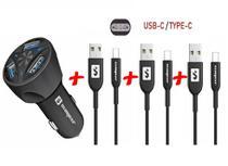 Carregador Veicular + 3 Cabos USB Tipo C Sumexr para Celular Samsung S8, S9, S10 Plus -