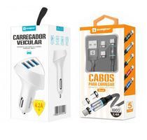 Carregador Veicular 3 USB + Cabo Magnético 3 em 1 Original Sumexr Para Celular Samsung J5 Metal, J7 Metal -