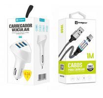 Carregador Veicular 3 USB + Cabo Magnético Tipo C Original Sumexr Para Celular Huawei, Alcatel, Positivo -