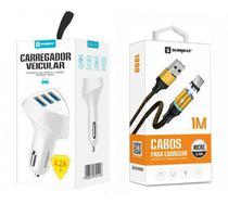 Carregador Veicular 3 USB + Cabo Magnético V8 Original Sumexr Para Celular Motorola E6, E6 Plus, E6 Play -