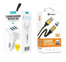 Carregador Veicular 3 USB + Cabo Magnético V8 Original Sumexr Para Celular Samsung J4, J4 Plus, J6, J6 Plus -