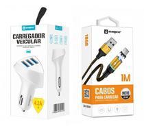 Carregador Veicular 3 USB + Cabo Magnético V8 Original Sumexr Para Celular Samsung J5 Metal, J7 Metal -