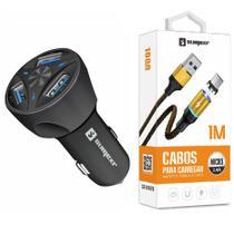 Carregador Veicular Automotivo + Cabo Magnético Original Sumexr para Celular Moto G5 G5S Plus G4 -