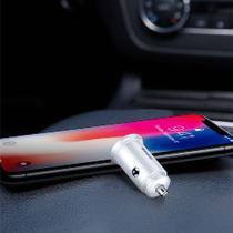 Carregador Veicular Baseus Turbo USB 2 Entradas Dual-U 30W 5A Max. QC3.0 / QC2.0 / SCP / PE+ / AFC - Com LED -