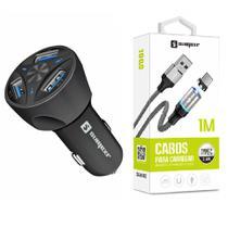 Carregador Veicular + Cabo Magnético Original para Celular Samsung S8, S9 S10 - Sumexr