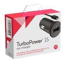 Carregador Veicular Motorola Turbo Power 15w Com Cabo Micro Usb Preto -