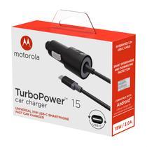 Carregador Veicular Motorola Turbo Power 15w - Com Cabo Usb-C - Preto -