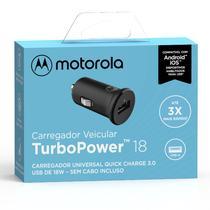 Carregador Veicular Motorola Turbo Power 18w Sem Cabo Usb Preto -