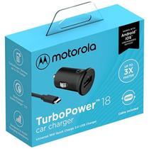Carregador Veicular Turbo Motorola Original 18w Moto G6 Play Garantia Resistente Com Cabo Micro Usb -