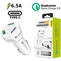 Carregador Veicular Turbo Tipo C Branco Sumexr Para Celular Samsung S8, S8 Plus, S9, S9 Plus -