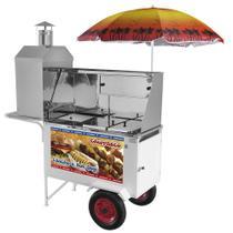 Carrinho 3 em 1 Armon Churrasco, Hot Dog e Lanche com Rodas Pneumáticas -
