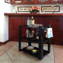 Carrinho Bar Adega Mesa Auxiliar de Apoio Churrasqueira Cozinha Sala Multiuso Preto - Formalivre