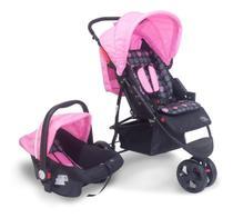Carrinho Bebê Travel System Urban Rosa Baby Style -