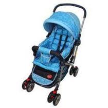 Carrinho Bebê Vira Berço Azul Menina Com Alça Reversíve - Dardara
