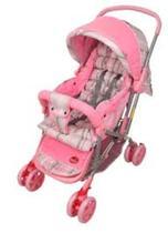Carrinho Bebê Vira Berço Rosa Menina Com Alça Reversíve - Dardara