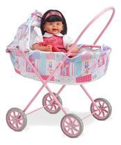 Carrinho Berço Rosa para Bonecas Deitado - Laço de Fita -