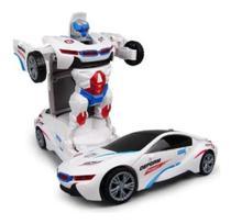 Carrinho Branco Vira Robô Com Sons Luzes Transformers Bate E Volta Brinquedo Infantil Top - Yijun