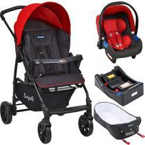 Carrinho de Bebe Bebe Conforto Base e Ninho Burigotto Ecco Cinza Vermelho -