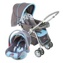 Carrinho de Bebê Cosco Travel System Reverse até 15 Kg com Bebê Conforto Azul -