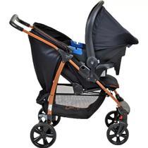 Carrinho de Bebê Ecco Preto Cobre + Bebê Conforto Travel System Burigotto -