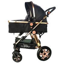 Carrinho de bebê Golden Dourado Club Baby Preto -