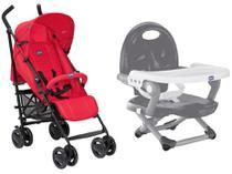 Carrinho de Bebê Passeio Chicco London Red Passion - Reclinável 4 Posições + Cadeira de Alimentação