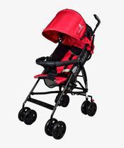 Carrinho De Bebê Passeio Slim Guarda Chuva - Vermelho Preto - Color Baby
