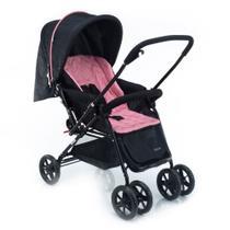 Carrinho de Bebê Reversível Status Voyage Rosa e Preto -