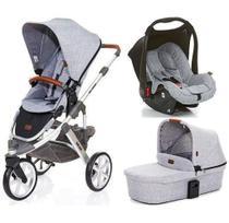Carrinho de Bebê Salsa 3 Rodas Graphite Gray (Cinza) + Moisés + Bebê Conforto - ABC Design -