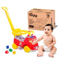 Carrinho de Bebe Totoka Plus Cardoso Toys Bombeiro com Haste para Empurrar -