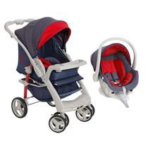 Carrinho de Bebê Travel System Optimus Jeans+Base Galzerano -
