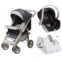 Carrinho De Bebê TS Optimus Preto/Cinza com Bebê Conforto + Base - Galzerano -
