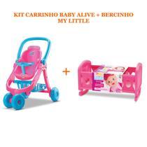 Carrinho de boneca baby alive ref.: 8141 + bercinho my little ref.: 8091 divertoys -