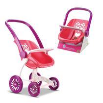 Carrinho de Boneca + Bebê Conforto Confort Baby Menina - Samba Toys