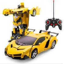 Carrinho de Controle Remoto que vira Robo Car Titanium amarelo - Artbrink