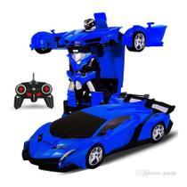 Carrinho de Controle Remoto que vira Robo Car Titanium azul - Artbrink